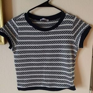 Zara striped cropped top. Blue/white colors.